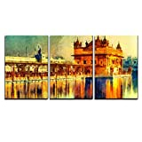 wall26 - 3 Piece Canvas Wall Art - Golden Temple at Amritsar, India - Oil Painting - Modern Home Decor Stretched and Framed Ready to Hang - 24''x36''x3 Panels
