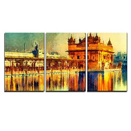 (wall26 - 3 Piece Canvas Wall Art - Golden Temple at Amritsar, India - Oil Painting - Modern Home Decor Stretched and Framed Ready to Hang - 24