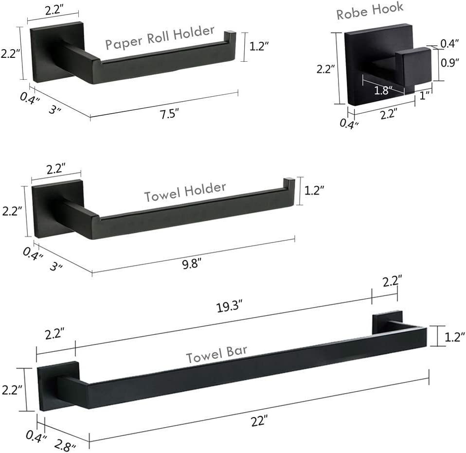 SUS 304 Stainless Steel Wall Mounted Black Finish Homili Contemporary 4-Piece Bathroom Hardware Set Towel Hook Towel Bar Toilet Paper Holder Tower Holder