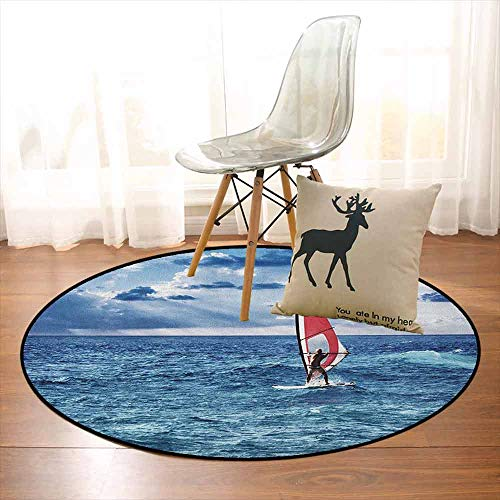 (Ride The Wave Non-Slip Absorbent Carpet Windsurfer in The Sea Exotic Adventure Happy Summer Beach Challenge Picture Better underfoot Protection D47.2 Inch Night Blue)