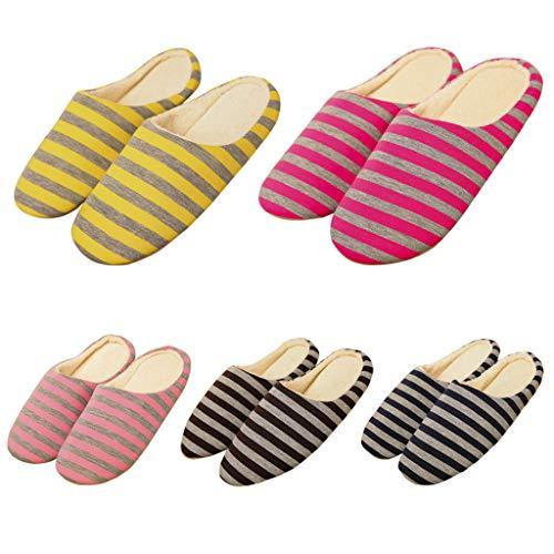 Chaud Slip Femmes Chaussures Rayées Café on Zoucy Pantoufles Coton Hommes Hiver Maison FxcOYBS