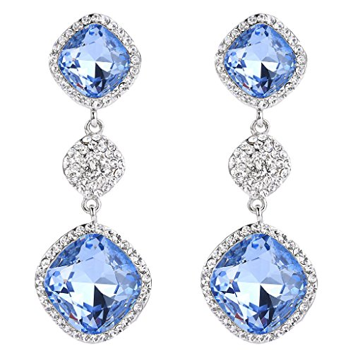 BriLove Women's Bohemian Boho Wedding Bridal Crystal Infinity Figure 8 Square Dangle Earrings Light Sapphire Color Silver-Tone