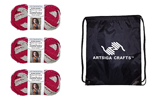Red Heart Boutique Sashay Team Spirit Yarn (3-Pack) Red/Grey E782T-1922 with 1 Artsiga Crafts Project Bag