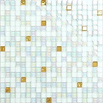 Neuen Stil Fliesen Mosaik Transparent Symphony Glas Glasmosaik D U0027Or Weiß  Transparent Mischung Aus