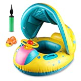 Philonext Baby Float Boat ,Baby Swimming Float,Inflatable Baby Float with Canopy Beach Pool Water Toys, Suit for Toddler Children (Air Pump )