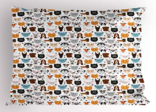 (Lunarable Animal Pillow Sham, Cat and Dog Faces Best Friends Whisker Bulldog Beagle Labrador Calico Kitty Print, Decorative Standard Queen Size Printed Pillowcase, 30 X 20 Inches, Multicolor )