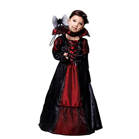 Tongchou Costume da Vampira Bambina Vestito Bambina Halloween Carnevale  Taglia M 2d630e01dc7c