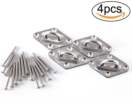 Penta Angel 4Packs 304 Stainless Steel Sun Shade Hardware Kit – 4Pcs 6mm Ring Square Sail Shade Pad Eye Plate Boat Rigging with 16Pcs 4mm Diameter Phillips Flat Head Tapping Wood Screws (Pad Suspension)