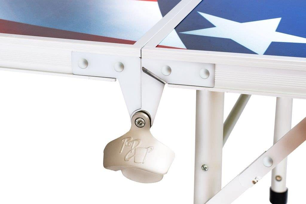 8 Folding Beer Pong Table with Bottle Opener By Red Cup Pong American Flag Design Ball Rack and 6 Pong Balls