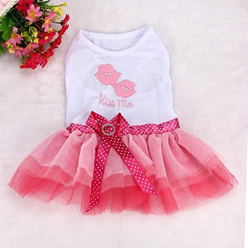 Picture of OutTop Girl Dog Dress, Lace Princess Tutu Shirt Clothes for Small Puppy