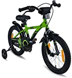 "PROMETHEUS Kids bike 16 inch Boys and Girls in Green & Black with stabilisers | Aluminum Calliper brake and backpedal brake | including security package | as from 5 years | 16"" BMX Edition 2018"