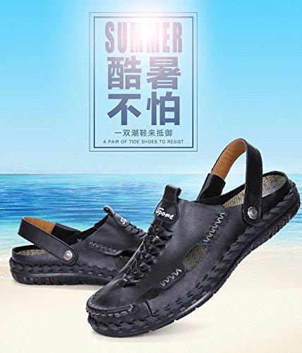 Männer Freizeit Sandalen Strand Schuhe Lüftung Sandalen Handgefertigte Nahtschuhe, schwarz, UK = 7,5, EU = 41 1/3