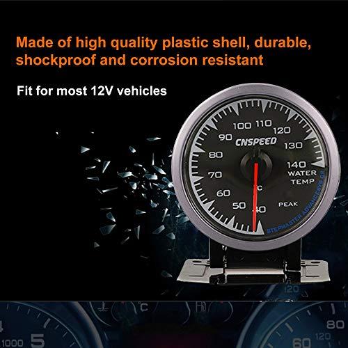 Sen-Sen CNSPEED 60mm 7 Farben Hintergrundbeleuchtung Zeiger Auto Auto Wassertemperaturanzeige Meter Schwarz