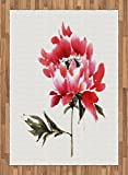 Art Area Rug by Ambesonne, Traditional Japanese Ink Wash Painting Inspired Watercolor Illustration of a Flower, Flat Woven Accent Rug for Living Room Bedroom Dining Room, 5.2 x 7.5 FT, Red Sage Green