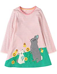 Girls Cotton Longsleeve Casual Dresses Striped Applique Cartoon