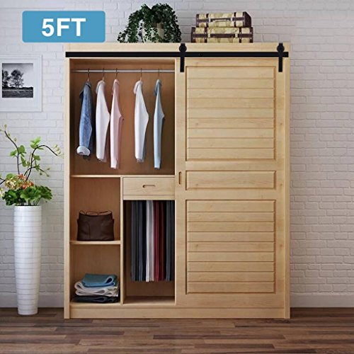 Artist Hand 5FT Mini Cabinet Barn Door Hardware Kit, Sliding Door Hardware Track Set, J shape Hangers for Single Door, cabinet, TV stand, Closet,wall (Single Hole Cabinet Kit)