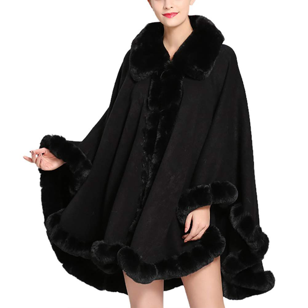 Froomer Women's Cashmere Cloak Female Imitation Fox Fur Collar Large Shawl Coat Black by Froomer