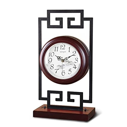 Family Fireplace Clocks Double-Sided Desk Clock, Quiet Wooden Living Room Decoration Clock ó