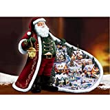 5D Full Diamond Painting Kit, DIY Rhinestone Embroidery Full Drill Cross Stitch Arts Craft for Christmas Decor Santa Wearing A Red Robe 11.8 * 15.7 inch