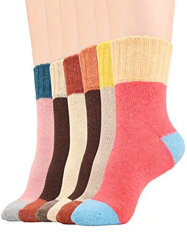 Women Winter Socks Causal Knit Warm Sock Wool Blend Crew Socks for Woman, 6 Pack