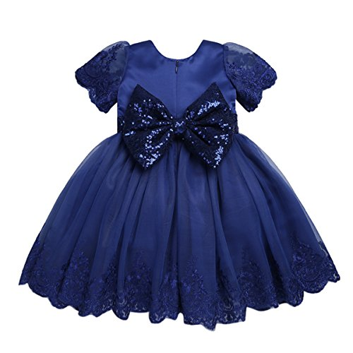 TiaoBug Baby Princess Bowknot Wedding Pageant Communion Baptism Party Flower Girl Dress (12-18 Months, Blue(Sequined)) ()