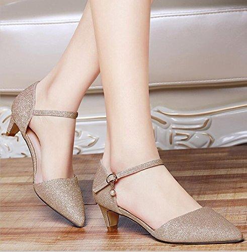 Los Ligera Primavera Zapatos De Zapatos 4Cm Verano 35 Nuevos Zapatos Y Población Con 36 Y Oro De KHSKX El Una Mujer De Elegante De wqx1AYa