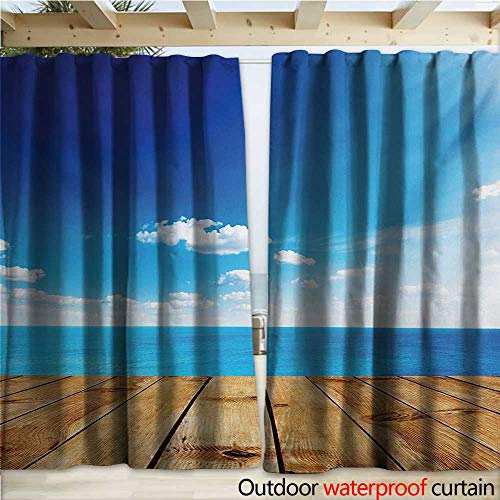warmfamily Landscape Outdoor Door Curtain Seascape View from Pier Under Cloudy Vivid Summer Sky Beach Theme Print W120 x L96 Blue White Brown (Pier Lighted Right)
