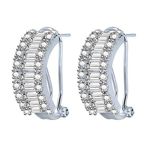 AoedeJ Gorgeous CZ Hoop Huggie Earrings 925 Sterling Silver Thick C-Hook Clip Earrings Clear CZ ()