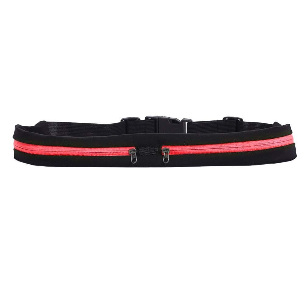 Rojo feeilty Dual Bolsillo Correr Cintur/ón Cintura Ajustable Bolsa para Deportes Ejercicio Tel/éfonos M/óviles