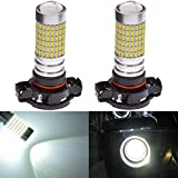 KaTur Extremely Bright 1500 Lumens 3014 144SMD CREE PSX24W Lens Fog Lights DRL Turn Signals Light Bulbs Day Running Light Lamp 12V-24V White 6000K (2-Pack)