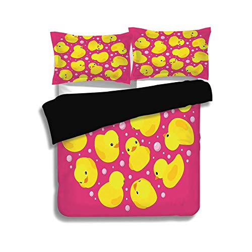 Black Duvet Cover Set Queen Size,Rubber Duck,Fun Baby Duckies Circle Artsy Pattern Kids Bath Toys Bubbles Animal Print,Pink and Yellow,Decorative 3 Pcs Bedding Set by 2 Pillow Shams -