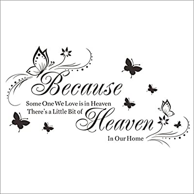 """Because Someone We Love is in Heaven "" Quote Decors Wall Saying Decals Quote for Home Wall Stickers Nursery Decor"