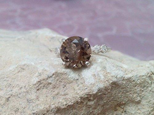 Smoky quartz ring,sterling silver ring, round gemstone ring, bridal ring, cocktail ring, brown topaz ring,vintage ring
