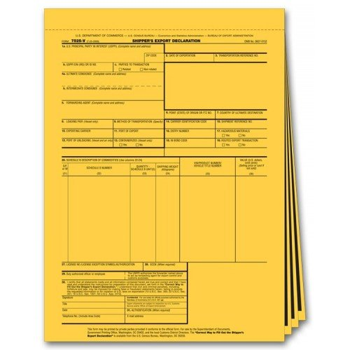Shippers Export Declaration Forms