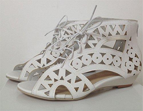 Bohemian women Wedges Low Shoes Yellow Fashion Lace Cutouts Summer Sandals Up shoes Women AA516 Open Beach Toe fxzSF