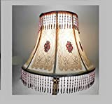 100 Yr Bobbin Lace w/ Silk Embroidered Colorful Roses, Sewed w/ Lilac Glass Beaded Drops on Vintage Lamp Shade by Me. French Boudoir, 00AK