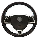 Loncky Auto Black Leather Black Suede Steering Wheel Covers for Jaguar XF 2012 2013 2014 2015 Jaguar XK 2012 2013 2014 2015 Interior Accessories Parts