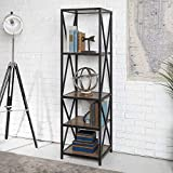 WE Furniture Industrial Bookshelf, Powder-Coated Steel, Barnwood, One Size