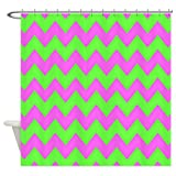 Hot Pink and Lime Green Shower Curtain CafePress Hot Pink and Lime Green Chevron Shower Curtain Decorative Fabric Shower Curtain (69