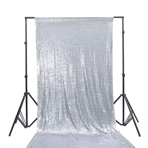 TRLYC 4Ft7Ft Silver Sequin Photo Backdrop Ceremony Background Shimmer Curtain for ()
