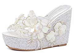 Every woman wants to have one pair of shoes which is unique and attractive. How about you? If so, this pair will be a good choice for you. The trendy sandals are designed breathable, anti-slip, high-heeled and wedge. It's made with flowers wh...