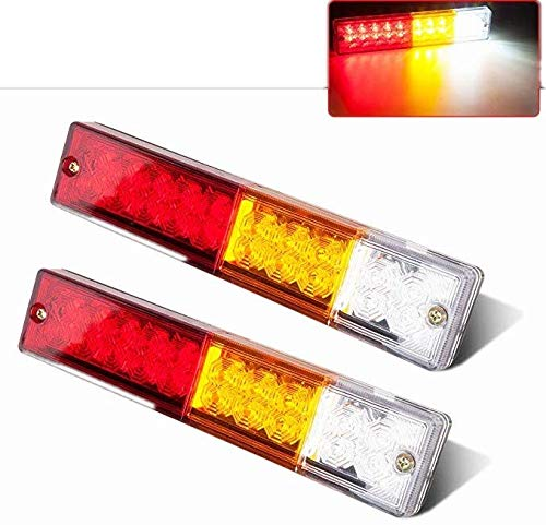 Zxlight 2x 20-LED Car Truck LED Trailer Tail Lights Turn Signal Reverse Brake Light, Stop Rear Flash Light Lamp, DC12V Red-Amber-White, Waterproof IP65 (Pack of - Seal Light Signal