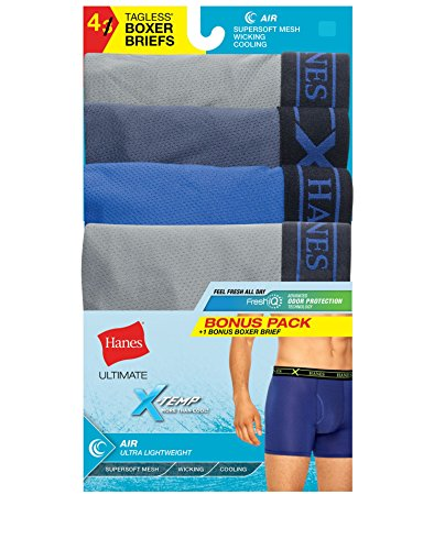 Hanes Men's X-Temp Tagless Lightweight Wicking Boxer Brief 4 Pack, Large ()