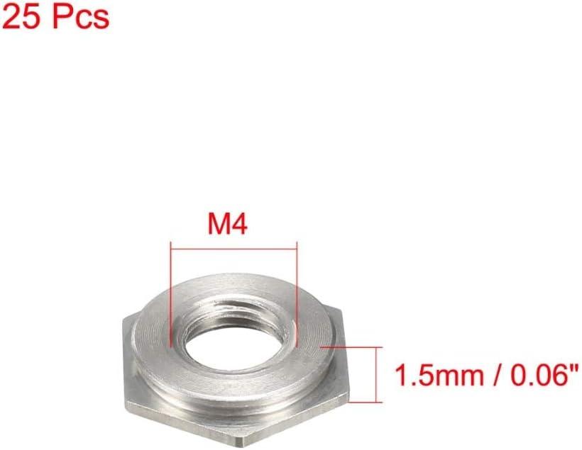 Nuts Huscus 25PCS M4 x 0.7mm Nuts Pitch Hex Head Carbon Steel Blind Hole Self Clinching Standoff Nut FS-M4-2// FS-M4-1 Fasteners Color: FS M4 2