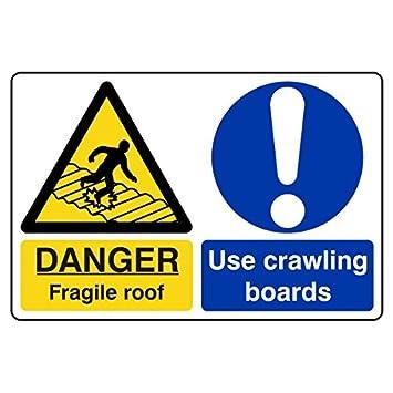 LI-Safety 400x300mm Fragile Roof/Use Crawling Boards Sign - Rigid Plastic