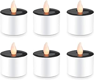 Youngerbaby Set of 6 Romantic Solar Power LED Tea Lights Candle Flameless Candles, LED Tealights for Home Decoration,Garden,Outdoor(Warm White)