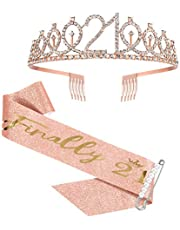 21st Birthday Sash and Crown for Girls, Finally 21 Birthday Sash and Rhinestone Tiara Set for Girls, 21st Birthday Gifts for Happy 21st Birthday Party Favor Supplies