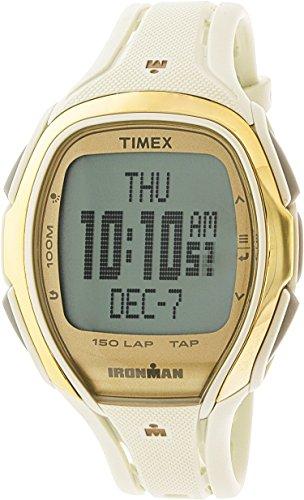Timex Unisex TW5M05800 Ironman Sleek 150 Tapscreen Full-Size White/Gold-Tone Resin Strap Watch