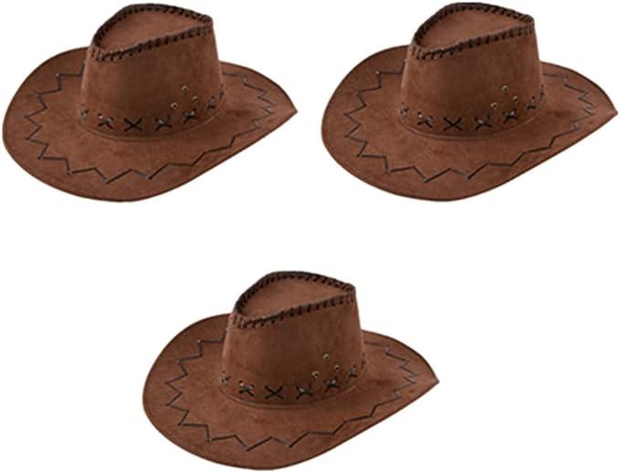 Wein z-//uiefr Unisex Wildleder Cowboyhut Westernhut Cowgirl australien Texas Cowboy Hut H/üte Western f/ür Erwachsene und Kinder