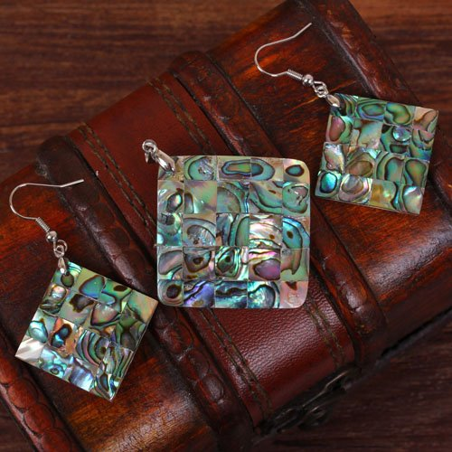 3pcs Abalone Shell Square pendant bead set Random send (Abalone Square Pendant)